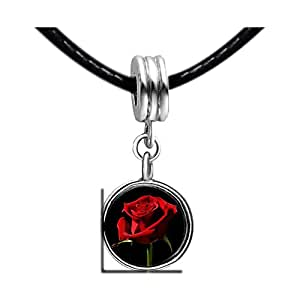 Chicforest Silver Plated Red Rose Photo Sapphire Crystal September Birthstone Flower dangle Charm Beads Fit Pandora Chamilia Biagi Charm Bracelet
