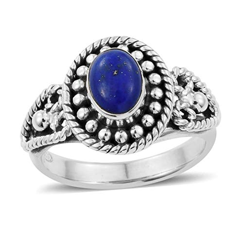 Semi Bezel Solitaire Setting - Solitaire Ring Handmade 925 Sterling Silver Oval Lapis Lazuli Gift Jewelry for Women Size 8