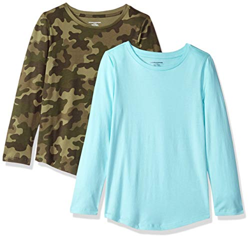 Amazon Essentials Big Girls' 2-Pack Long-Sleeve Tees, Camo Print and Bleached Aqua, ()