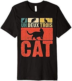 Cat s: Un Deux Trois Cat French Joke Vintage Cat Lover Premium T-shirt   Size S - 5XL