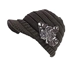 Grey Beanie Cable Knit Hat with Sequined Flower