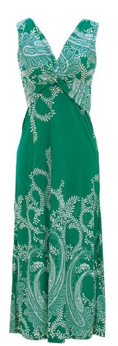 Peach Couture Womens Paisley Print Smocked Waist Surplice Bodice Tank Maxi Dress Green (Surplice Tank Dress)