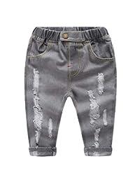 Buy-Box Baby Boys Girls Hole Jeans Trousers Shredded Long Denim Elastic Pants