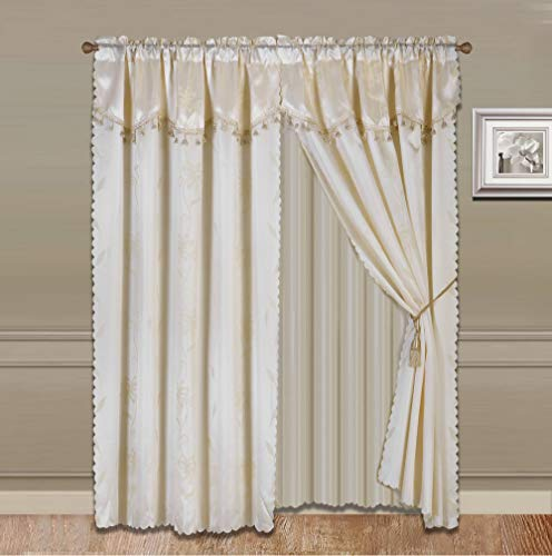 "Sapphire Home 2 Panel Window Curtain Set (120"" W x 84"" L) with Valance and Sheer Backing and 2 Tassels - Faux Silk Shiny Curtain Set - Rod Pocket Drapes - Leaf Floral Design Curtain - Ivory"