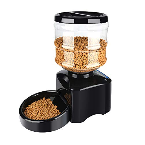 Rosmax 5.5L Automatic Pet Feeder -Support LCD Screen and Voice Message Recording - Healthy,Simply Dogs Cats Food Bowl Dispenser