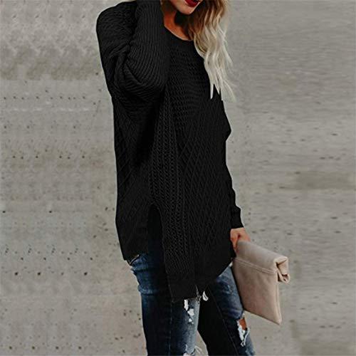en Longues Chandail Femmes Manches Noir Solide Pullover Chemise Longues Vrac Dames tricot Tricot Tops Chandail Vrac Manches Pull Bellelove Longues Manches en PqY4ZZ
