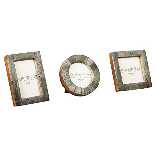 Baby Photo Frame Pure Bone Mother of Pearl Handmade Natural Picture Frames Set of 3 Pieces (Grey) by Handicrafts Home
