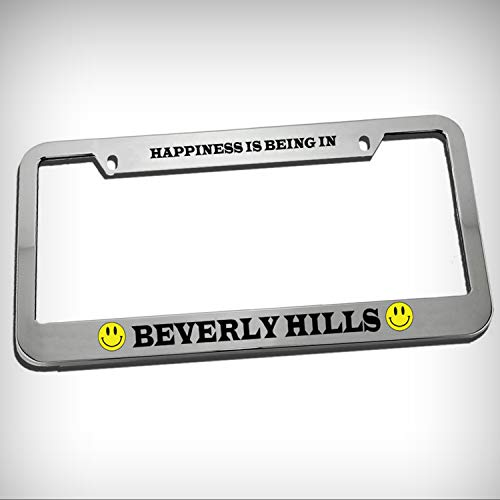 - Happiness is Being in Beverly Hills Tag Holder License Plate Frame Decorative Border - Novelty Plate \ Sign for Home Garage Office Decor