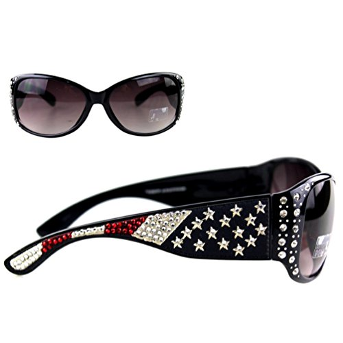 Montana West Ladies American Pride Collection Sunglasses UV 400, Black Frame Black - Montana Wholesale Sunglasses West