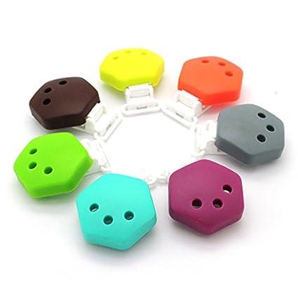 Ruby - 7 Pinzas de Silicona Clips Hexagonal Pinzas de Chupete para Niños Bebés
