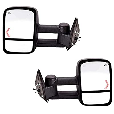 DEDC Chevy Tow Mirrors Side Mirrors Towing Mirrors Power Heated with Arrow Signal Light for 2003-2007 Chevrolet Silverado GMC Sierra 1 Pair by Dedc