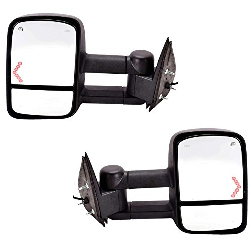 DEDC Chevy Tow Mirrors Side Mirrors Towing Mirrors Power Heated with Arrow Signal Light for 2003-2007 Chevrolet Silverado GMC Sierra 1 Pair ()