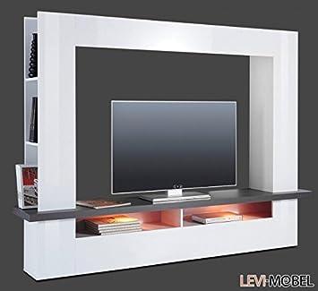Amazon De Generic Mediawand Tv Lowboard Wohnzimmer Weiss Hochglanz