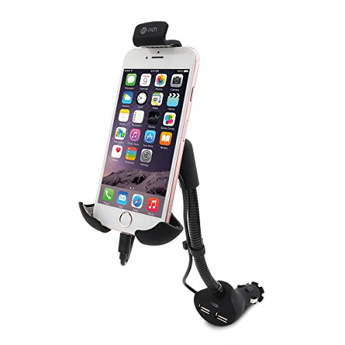 Te-Rich 2-in-1 Cigarette Lighter Phone Holder Car Mount Charger with Built-in Lightning Cable for iPhones - Dual USB, 3.1A Max