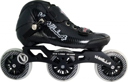 Black Vanilla Carbon Inline Speed Skates Men / Boys Size 1-13