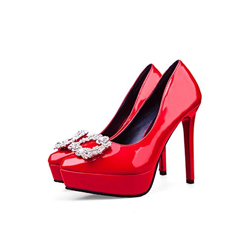 Urethane Spikes Platform Stilettos Rhinestones Pumps Womens Red Shoes AdeeSu 1wtqXX