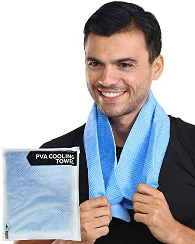 PVA Cooling Towel – Keep Cool Neck Cooler Wrap – Sweat Rag/Chamois Outdoor Sports Ice Towel – Instant Cold Snap Cloth for Summer Heat, Hot Weather Hiking, Golf, Running, Gym Workout & Yoga – UPF 50