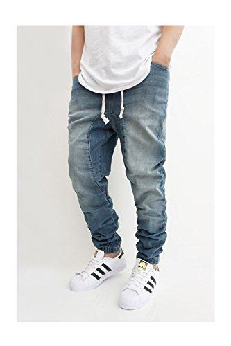 Victorious Men's Vintage Drop Crotch Denim Jogger Pants