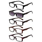 LIANSAN Readers Sunglasses 1.0 1.25 1.5 1.75 2.0 2.25 2.5 2.75 3.0 3.5 4.0 Men's Womens Sun Reading Glasses Eyeglasses with Shades 6500X 5 pairs +1.75