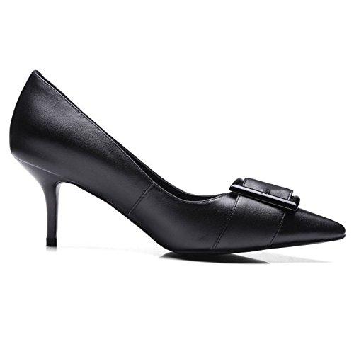 Chaussures en pour DKFJKI Cuir Noires Basses de Escarpins Robes Black Escarpins Femmes Travail Conseils Chaussures Talons 8wwtSx5q1