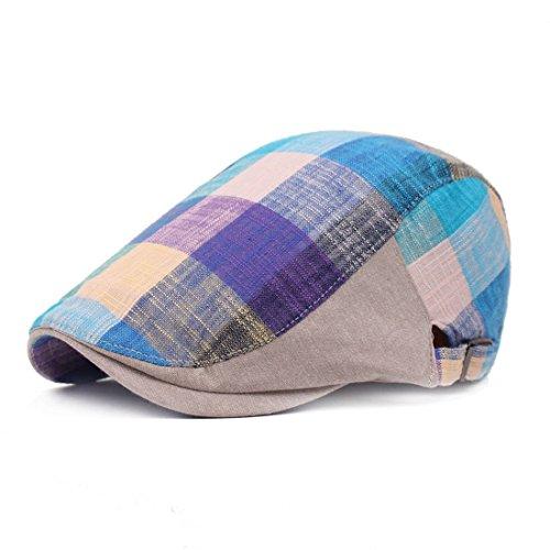 Linen Plaid Cap (King Star Men Plaid Longshoreman Ivy Irish Newsboy Cap Cabbie Scally Hat Blue)