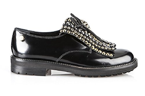 Baldinini 6111 Black Leather Italian Designer Women Shoes (37EU/7US)