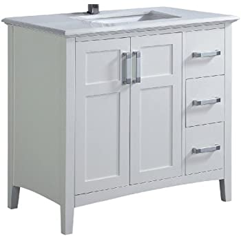 "Simpli Home Winston 36"" Bath Vanity with Quartz Marble Top, White"