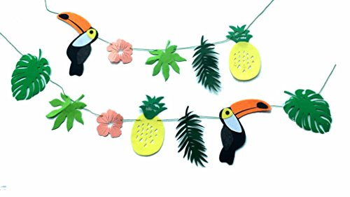 Aloha Baby Wall (ALOHA Toucan Bird Tropical Leaves Banner Pennant, Pineapple Party Decorations)