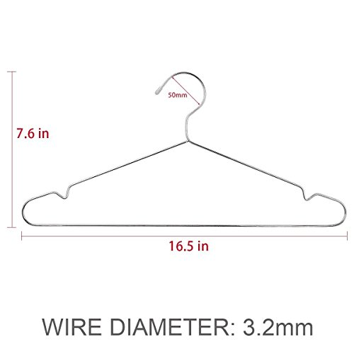 TIMMY Wire Hangers 40 Pack Stainless Steel Strong Metal Wire Hangers Clothes 16.5 Inch