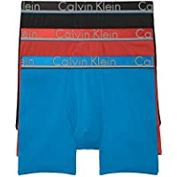 3-Pack Calvin Klein Men's Comfort Microfiber Boxer Brief (Black/Fire Red/Ocean Blue)
