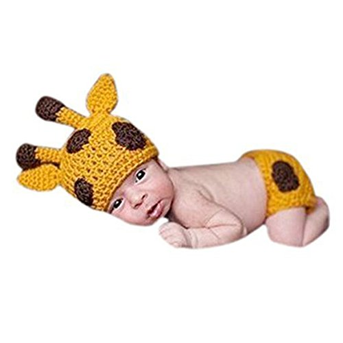 Tueenhuge Baby Photo Props Baby Girls Boys Knit Baby Outfits Costume Hat and Pants (Giraffe)