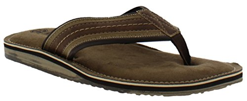 Khombu Howard Mens Memory Foam Flip Flop Beach Sandal, Brown, Large, 10-11 M US