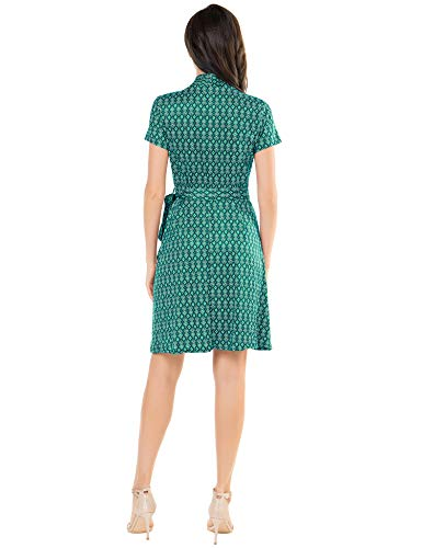 Fresca Women\'s Casual V Neck Belted Short Sleeve Swing A Line Faux Wrap Dress Geometric Green Large