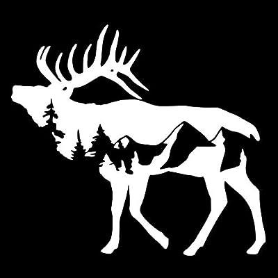 Elk Mountains NOK Decal Vinyl Sticker |Cars Trucks Vans Walls Laptop|White|5.5 x 5.0 in|NOK740: Kitchen & Dining