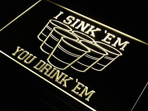 ADVPRO I Sink 'EM You Drink 'EM Beer Pong LED Neon Sign Yellow 16 x 12 Inches st4s43-j556-y