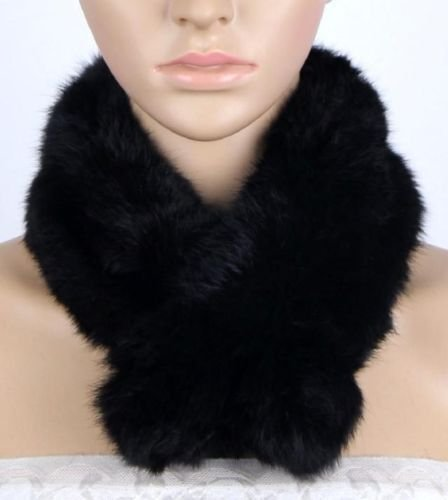 [Say's Scarf - Women Real Rabbit Fur Scarf Shawl Collar Stole Cape Scarves Winter Scarf Wrap / Black] (Costume Design For Rabbit Hole)