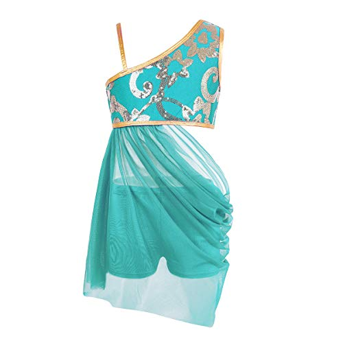 Alvivi Little Big Girls 2 Pieces Floral Sequins Ballet Lyrical Modern Dancewear Costume with Boyshort Lake Blue 10]()