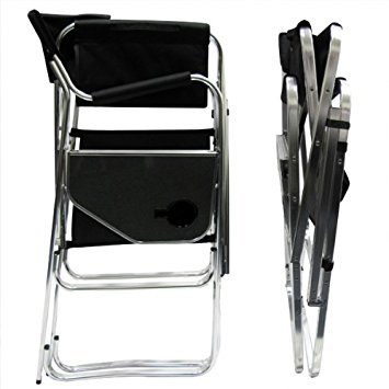 Deluxe Tall Folding Directors Chair Foldable Chair with Side Table and Cup Holder XL Comfort Design