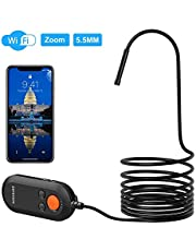 Depstech The Third Version Wireless Endoscope, 5.5mm Ultra-Thin WiFi Borescope with Digital Zoom Lens, HD Snake Inspection Camera with QuickShot for Android and iPhone, Samsung, Tablet -Black(16.4FT)