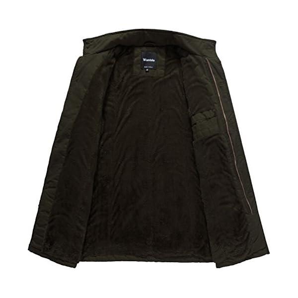 Wantdo Men's Cotton Stand Collar Jacket with Fleece