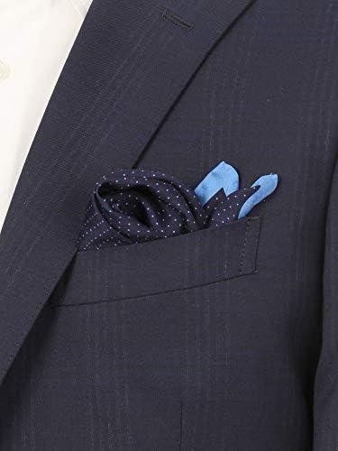 (ザ・スーツカンパニー) ドットプリント シルクポケットチーフ ネイビー×ブルー