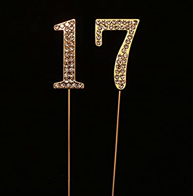Amazon Numbrer 17 For 17th Birthday Or Anniversary Cake Topper Party Decoration Supplies Gold 175 Inches Tall Kitchen Dining