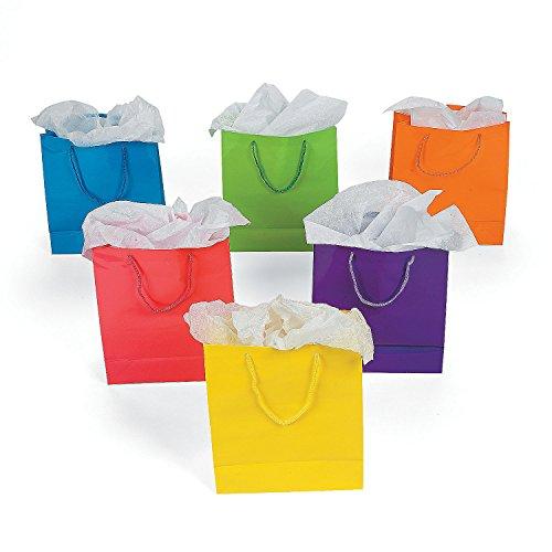 Fun Express Medium Neon Gift Bags, 1-Dozen, 9-Inch Tall