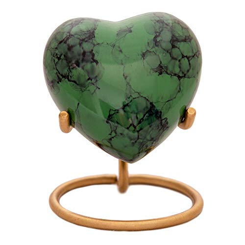 (Green Stone Heart Keepsake Urn - Mini Ash Urn with Free Premium Velvet Box & Display Stand - Small Handcrafted Cremation Urn for Ashes - Tribute to Your Loved One)
