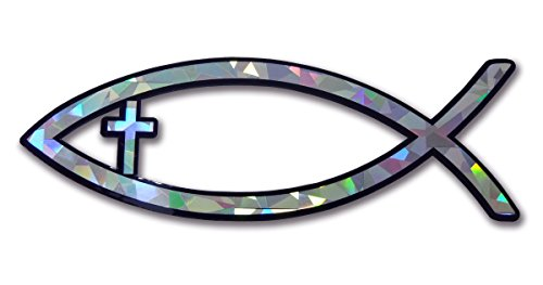 (Elektroplate Christian Fish with Cross Reflective Decal Sticker Emblem)