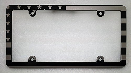 AMERICAN FLAG LICENSE PLATE FRAME, SLIMLINE, BLACK (Billet License Plate)