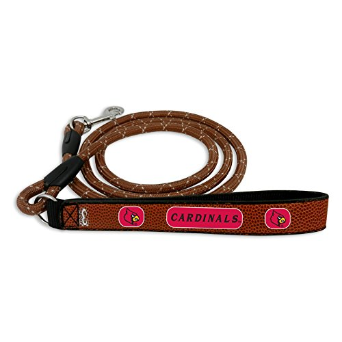 NCAA Louisville Cardinals Football Leather Rope Leash, Large, Brown