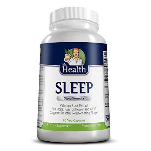Mélange de Monsieur santé botanique sommeil sommeil naturel aide 100 % à base de plantes & somnifère Non-accoutumance 90 Capsules (fabriqués avec l'extrait de racine de valériane, passiflore, Gaba, houblon & plus!)