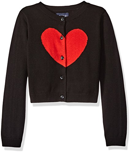 The Children's Place Big Girls' Cardigan, Black 68188, Large/10/12 Black Heart Cardigan