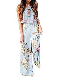 126b46f645 Women Floral Strap Backless Jumpsuit Wide Leg Trousers